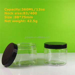 black 89mm lid jar 12 oz