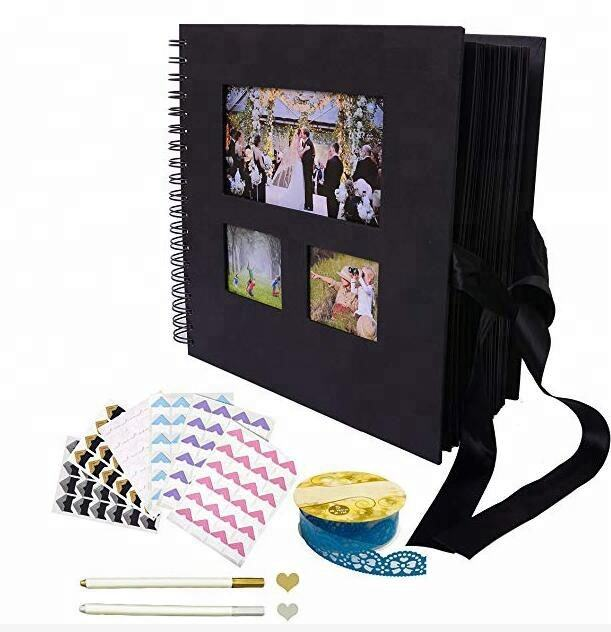 Kraft Scrap Book Photo Albums gold sprial photo book DIY scrapbook wedding baby album with Metallic Marker Pen