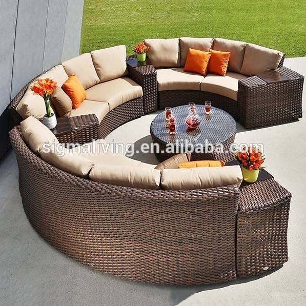 Sigma new arrival outdoor garden curved sofa rattan sectional sofa