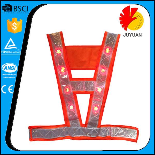 Nuevo 16 LED LIGHT UP chaleco de seguridad con bandas reflectantes