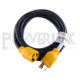 J022 30 AMP RV Power Cord for Generator & Transfer Switch 25' Foot Long Reach 30A Power Cable Camper Power Extension