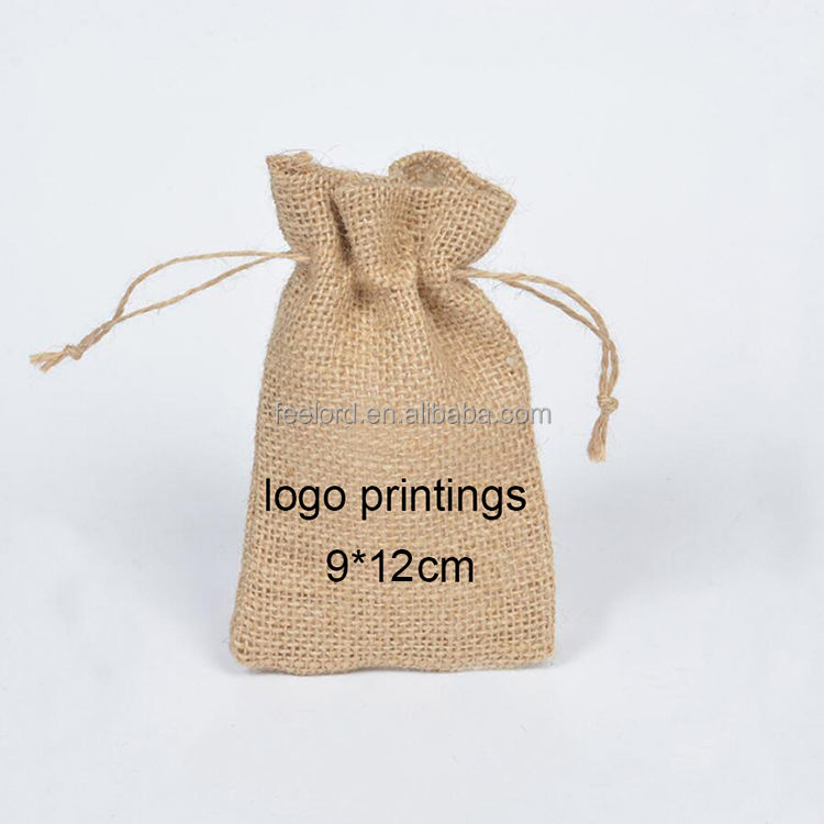 100pcs can print private logo jute pocket bag for jewelries and gift item 9*12cm size small jute drawstring pouch for promotion