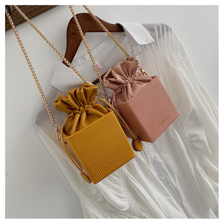 Ins Hot Sale Leather Box Lady Bag 2019 Drawstring Shoulder Bag Purse Fashion Crossbody Handbag For Women