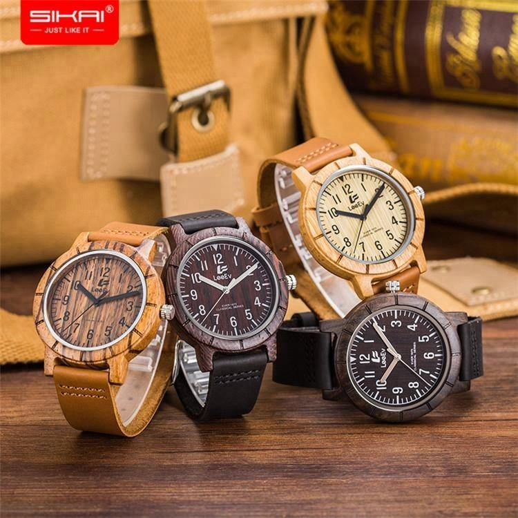 SIKAI Dropshipping Eco-friendly Custom Your Logo Quartz Sandalwood Private Label Leather Band Wood Watch Cheap