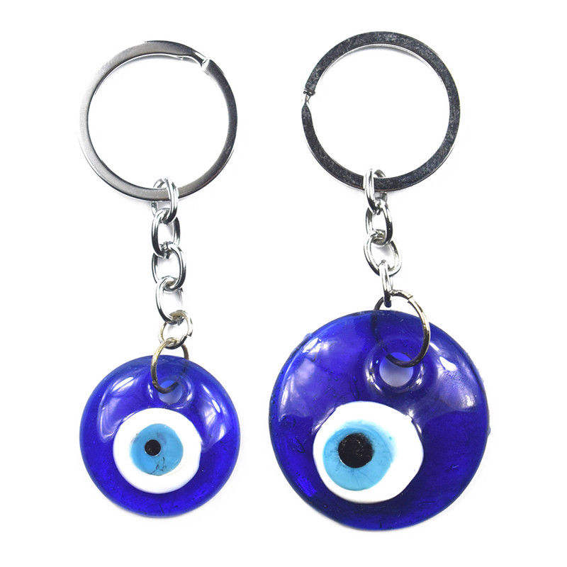 Chinese Culture Blue Woman Glasses Leather Metal Key Chain Ring Car Keychain Gift