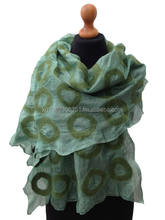 Handcrafted Nuno felted Silk and Wool Scarf with beautiful and original design. Wholesale