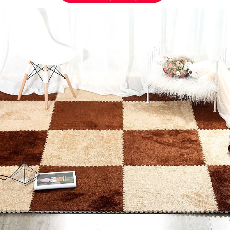 100% Tpe And Plush Fabric Plush Shaggy Carpet Tiles