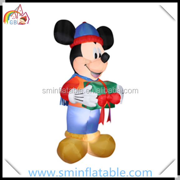 Ornamento de Navidad-ratón Mickey inflable, led inflable con Mickey con regalo para la decoración de patio al aire libre