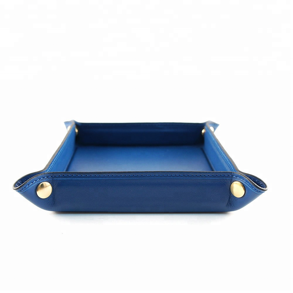 Blue color PU faux leather coin tray for home decoration