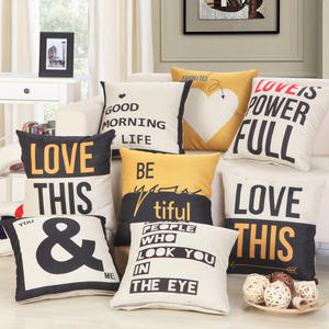 wholesale linen cotton fabric 18x18 nordic custom i love you word print decorative throw pillow cover case for sofa
