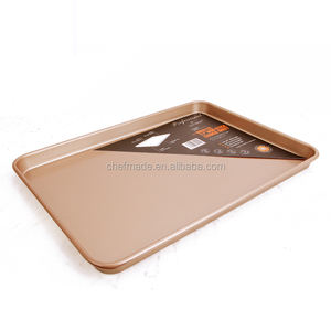 Promosi 17 Inch Kualitas Cookie Sheet Baja Karbon Baking Pan Non Stick Baking Tray Dangkal Baking Pan