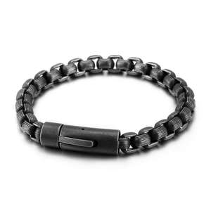 Fashion Retro 316L Antique Silver Chunky Man Metal Chain Stainless Steel Mens Bracelets