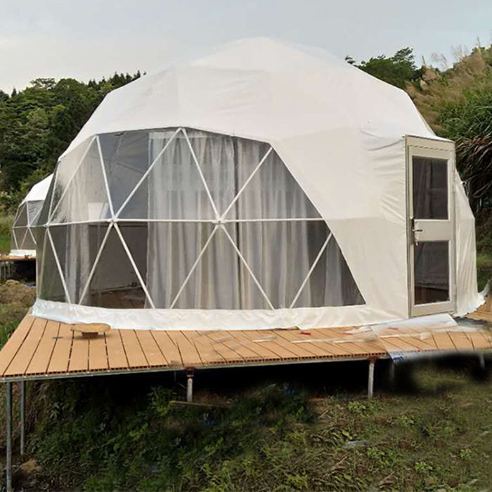 Hotel Camping Prefab Tents Resort Waterproof Glamping Geodesic Dome House Tent with Curtain and Door