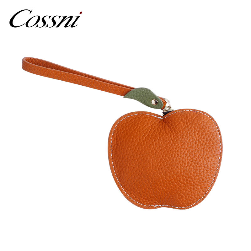 Orange color genuine leather coin purse with wristlet and key chain for women