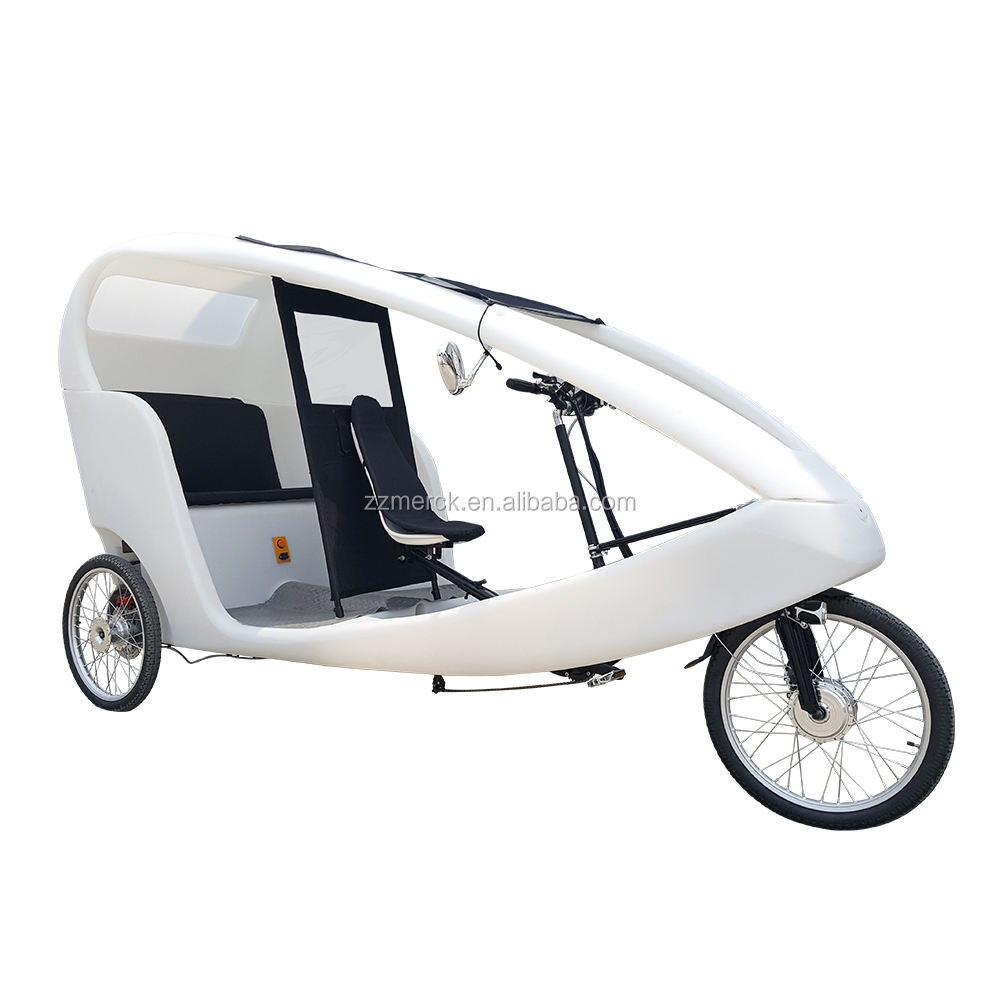 PE Cabin Pedal Assist 3 Wheel 2 Passengers Rental Use Velo Taxi Style Cargo Tricycle Electric Taxi Bike Distribution