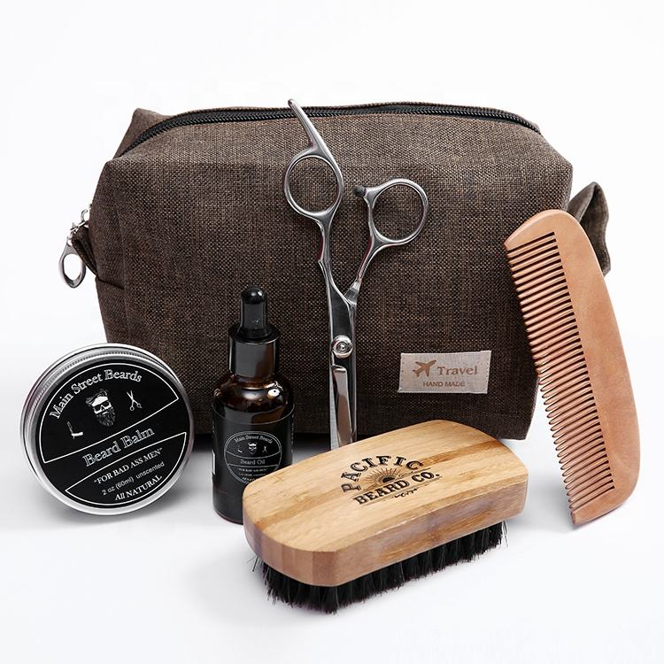 Private label shaving beard brush custom travel set for men