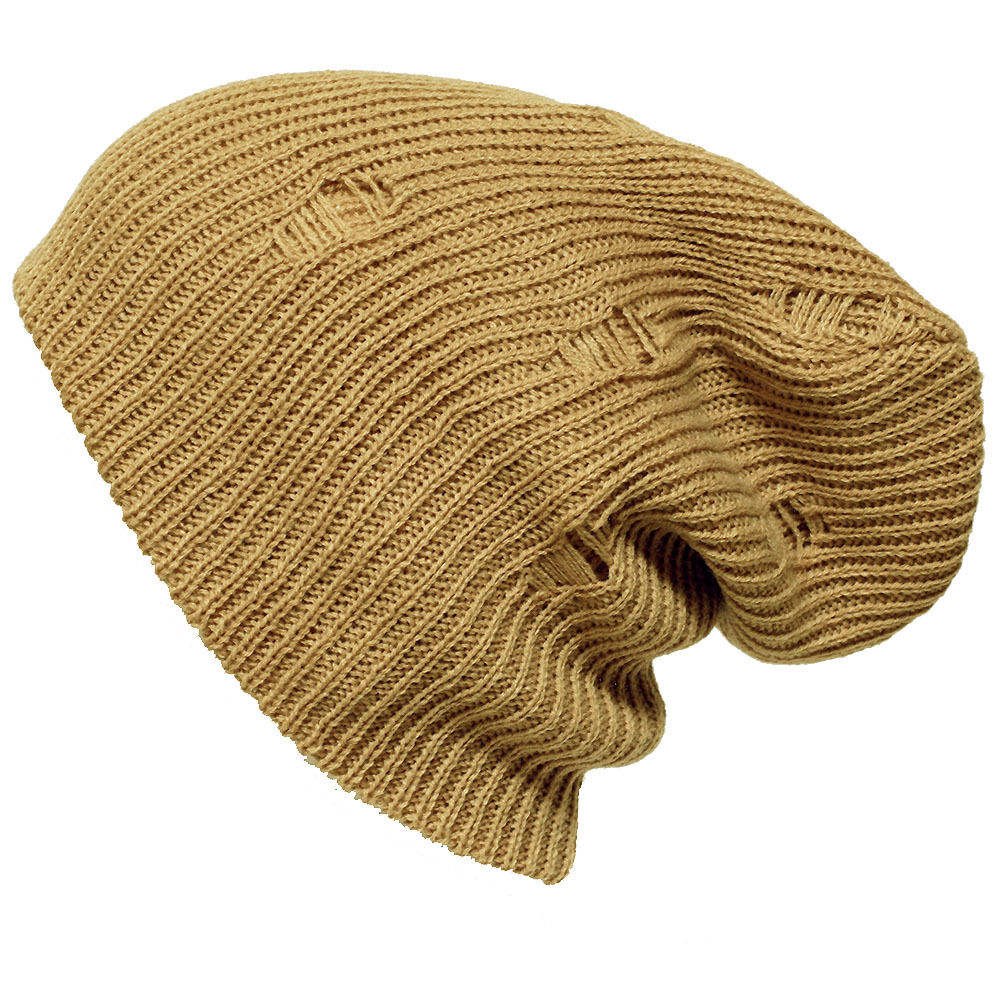Men Women Vintage Distressed Knit Oversize Baggy Slouch Beanie
