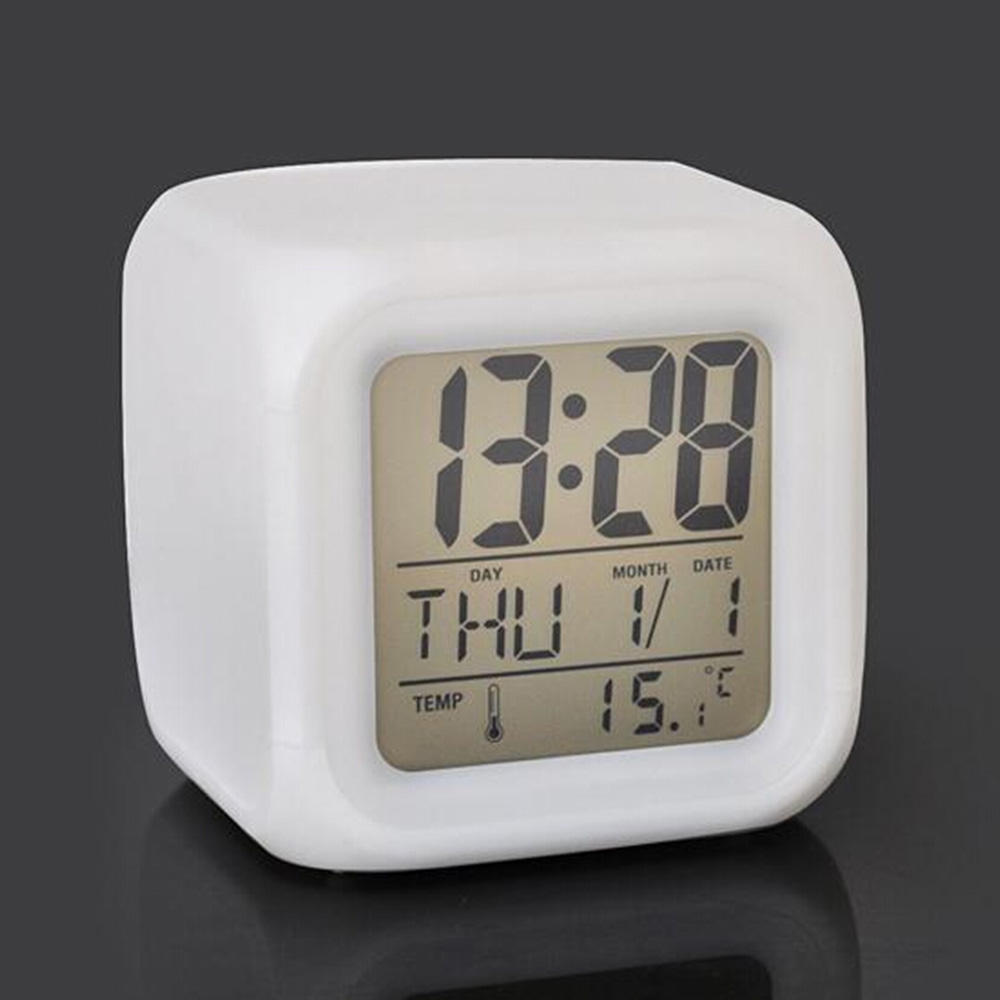 LED Cube 7 Colors Night Change LCD Digital Glowing Date Thermometer Calendar Display Cube LCD Clock Kid Alarm Clock