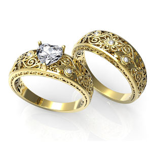 Trendy Lover Brass Real 금 Platinum Plated 꽃 Band Heart 컷 Cubic 지르코니아 구 Set Wedding 링 Set 대 한 몇