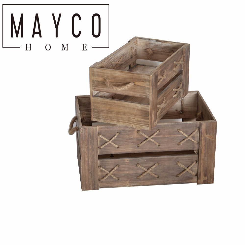 Mayco Rustic Decorative Wooden Wine Crates with Lid