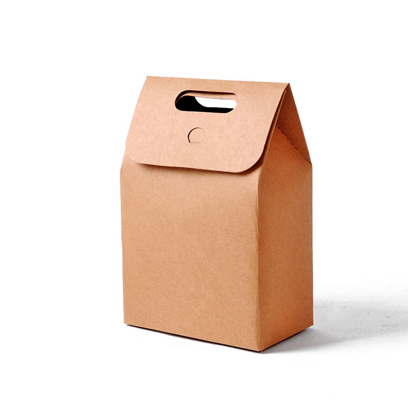 kraft paper candy craft bakery chocolate cookies takeaway packaging boxes with handle