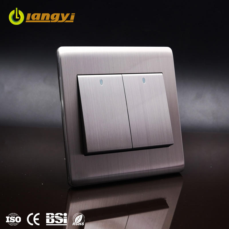 High Quality Stainless Steel Faceplate 2 Gang 1 Way Classical Lighting Electrical Wall Switch