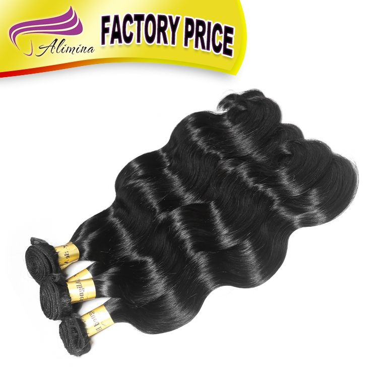 Alimina factory price brazilian body wave, can custom hair extension packaging, virgin raw rare hair