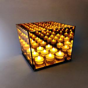 9 lights infinity glass tealight cube candle holder made in china