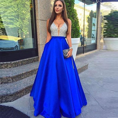 ZH0637X 2019 Sexy Sleeveless V-neck Sequin Dress Formal Evening Dress Party Gowns