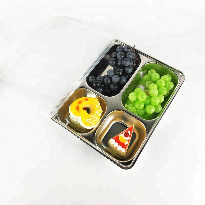 Stainless Steel food tray 4 Compartment lunch box for school canteen