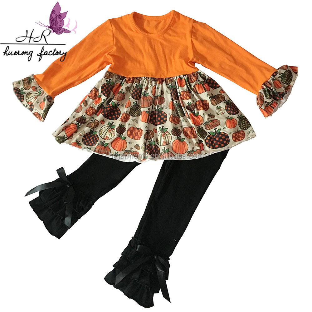 2017 Groothandel Lovebaby Halloween Outfits Baby Girl Fall Katoenen <span class=keywords><strong>Kleding</strong></span> Voor Kids Ruches Holiday Outfits