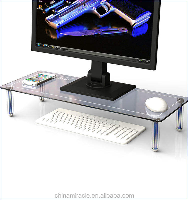 high quality computer lcd monitor stand simple computer table with bookshelf