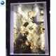 Wall cladding backlit translucent ice gold black marble onyx
