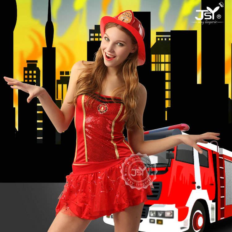 vestido de encaje mujeres traje rojo de bombero