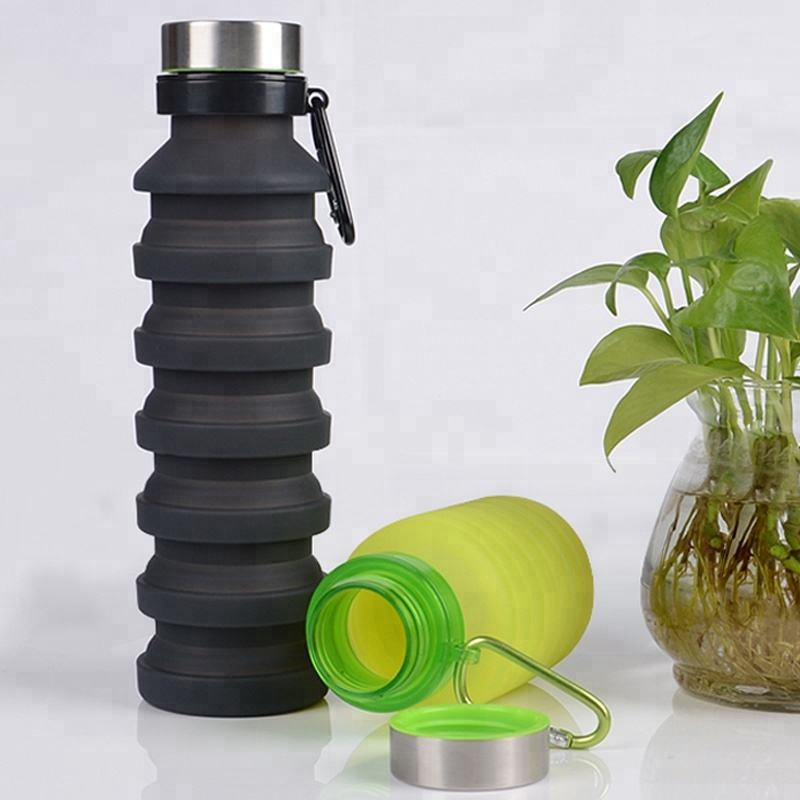 Factory private label silicone foldable collapsible sport water bottle