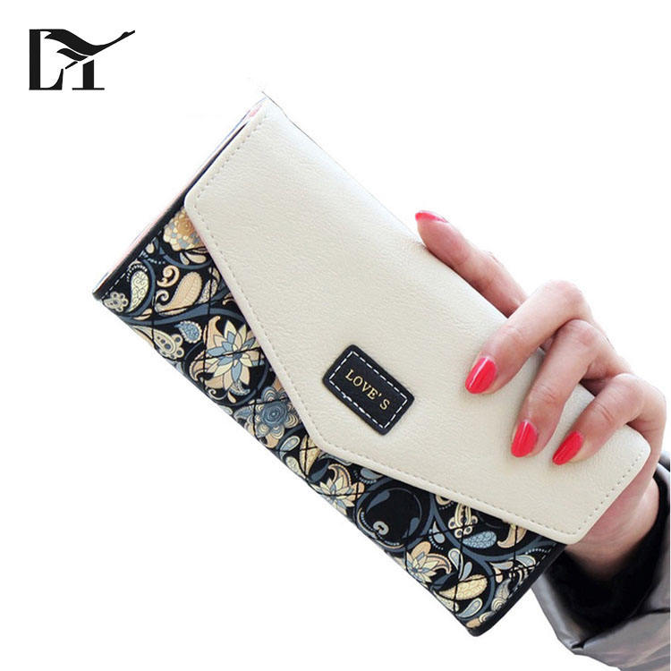 Vintage Design Leisure Purse Colorful Style Flowers Printing Women Wallet