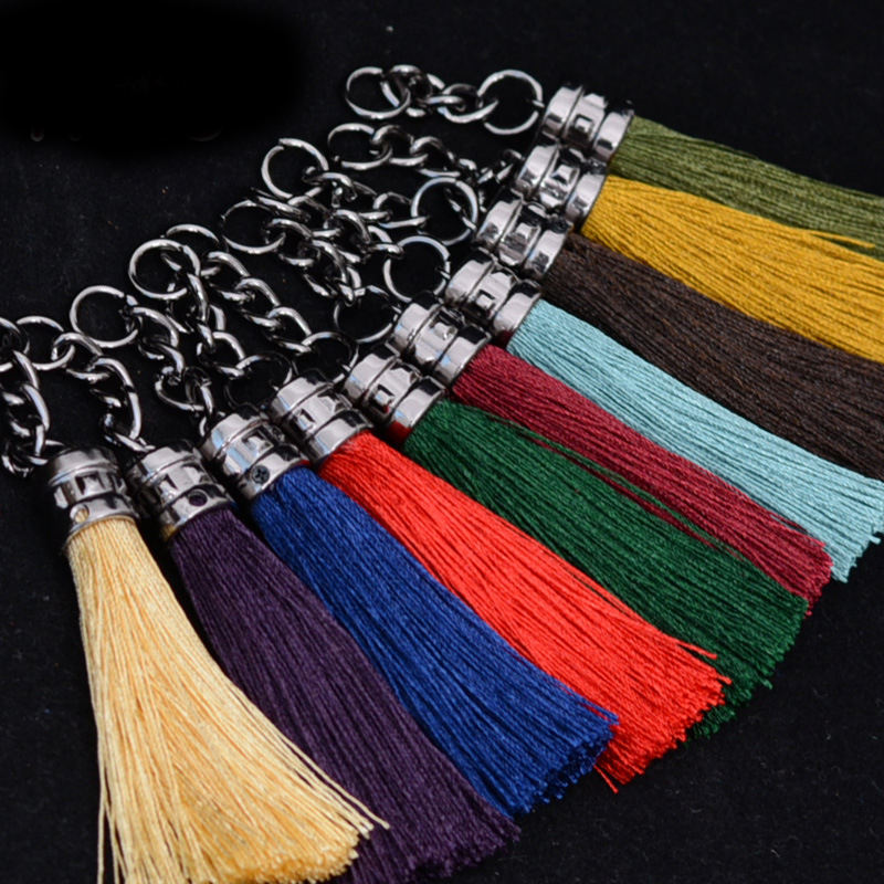 LONGJIE manufacturers wholesale personalized multi-colors metal chain tassel DIY key chain tassel for bag and keychain