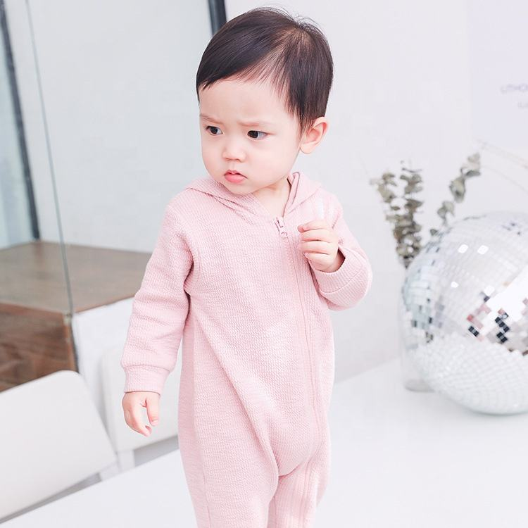 (High) 저 (quality plain white baby zipper romper 빈 키 빈 organic cotton baby 옷 잠 옷 wholesale 1661