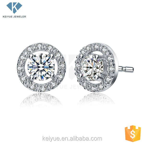 Shinning ring shape white seoul stone earrings with Pattern clear lines