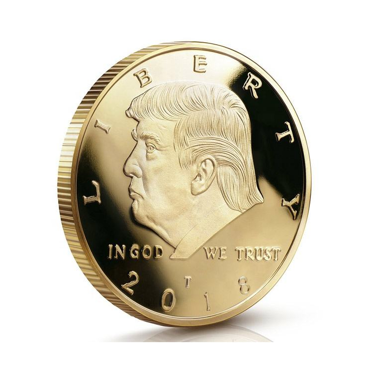 Hot selling custom made souvenir gold 3d metal donald trump coin