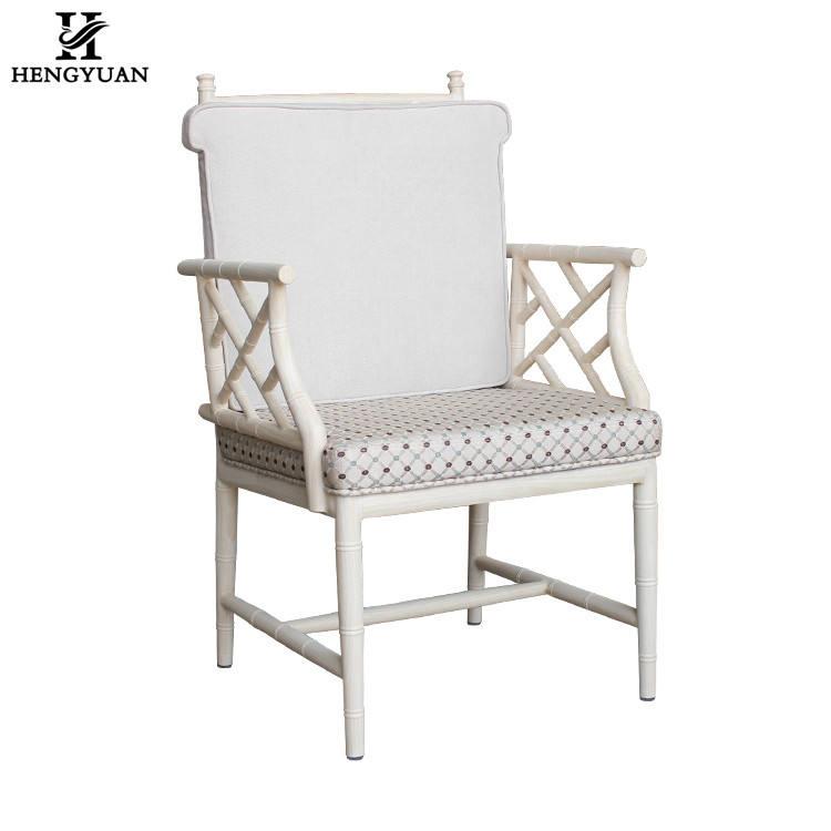 Blanc design moderne chaise de salle à manger de <span class=keywords><strong>qualité</strong></span>, exquis accoudoir dinant la chaise, tissu rembourré chaise de salon