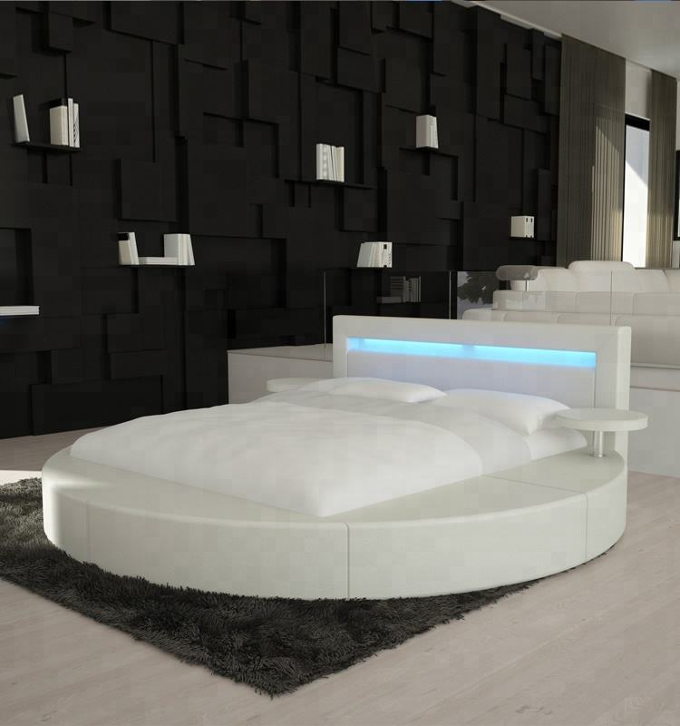 PU LED BED modern style round bed