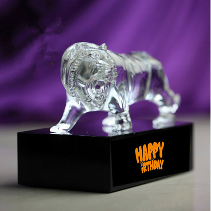 Elegant High Quality Blow Crystal Glass Tiger Animal Figurines