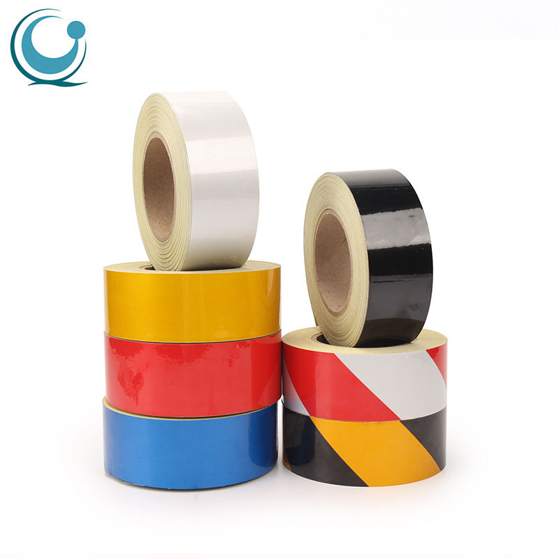 High visibility colored reflective road marking tape