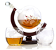 Hottest Selling Etched Whiskey Decanter Globe Set with Wooden Base / Whiskey Decanter / Whiskey Decanter Set