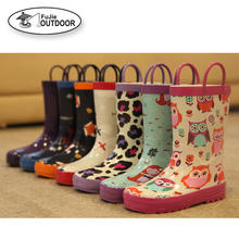 Kids Cute Rubber Rain Boots with Handle