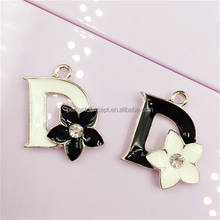DIY Wholesale black white enamel flower fancy charm pendant