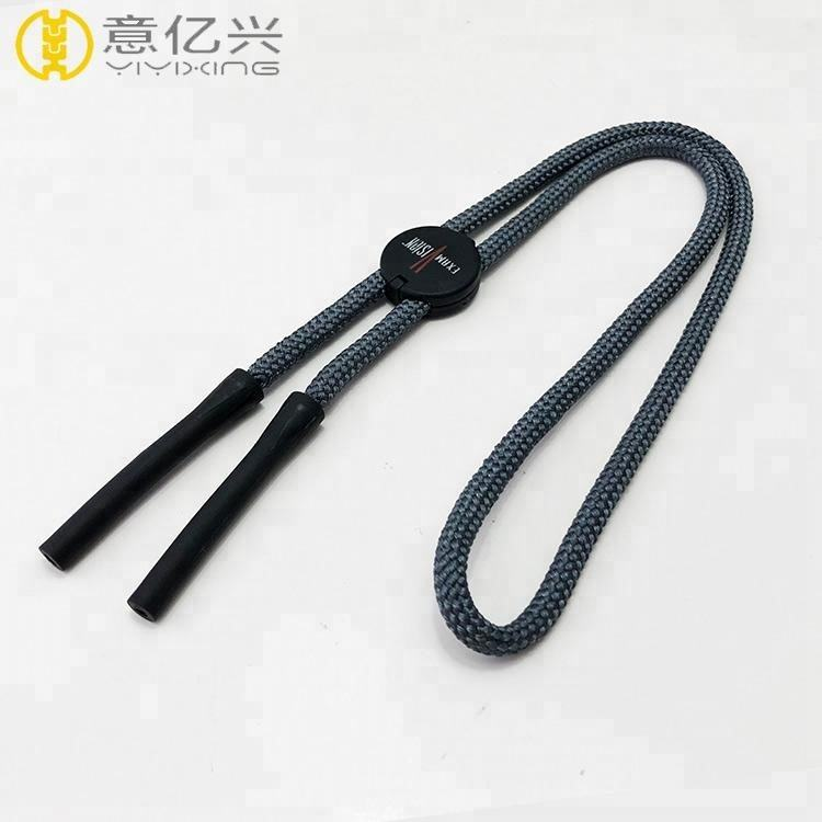 High end silk screen logo plastic clip cord lanyard with rubber stoppers