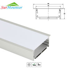 90mm Recessed led aluminium profile for led bar light, led strip aluminum channel, waterproof aluminum housing