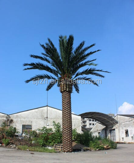 Galvanized steel trunk artificial date palm tree factory direct wholesale artificial tree for outdoor decoration